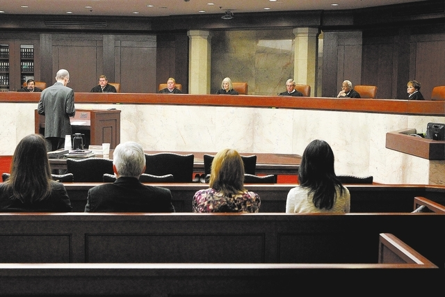 The Nevada Supreme Court works in Carson City in this file photo from Monday Jan. 7, 2013. (Cathleen Allison/Las Vegas Review-Journal)