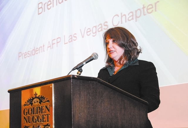 Brenda Griego, President Las Vegas Chapter for the Association of Fundraising Professionals speaks during the 22nd Annual National Philanthropy Day Awards Luncheon at the Golden Nugget hotel-casin ...