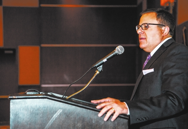 Charles Guida, President St. Rose Dominican Health Foundation speaks after receiving the award for Outstanding Fundraising Professional during the Association of Fundraising Professionals 22nd Ann ...