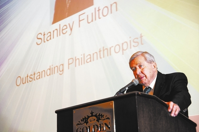 Stanley Fulton, speaks after receiving the award for Outstanding Philanthropist during the Association of Fundraising Professionals 22nd Annual National Philanthropy Day Awards Luncheon at the Gol ...