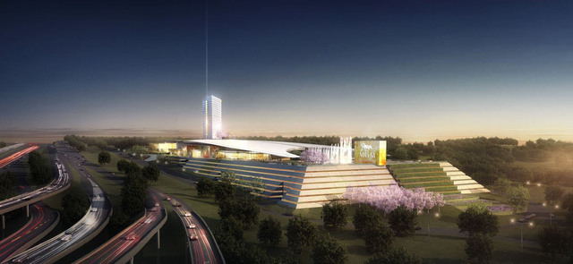 In this artist's rendering, the proposed MGM National Harbor is seen from the adjoining highway that rings Washington DC. Subject to winning a gaming license from the state of Maryland, MGM Resort ...