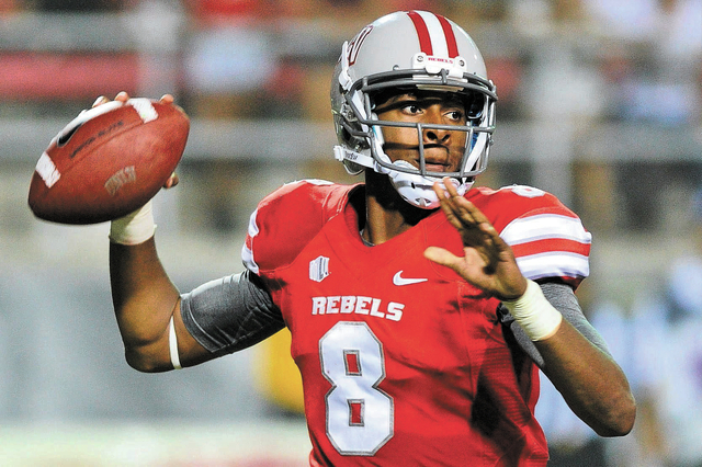 UNLV quarterback Caleb Herring (8) looks to throw the ball during a football game against Central Michigan at Sam Boyd Stadium in Las Vegas in September. Players like Herring are one reason you sh ...