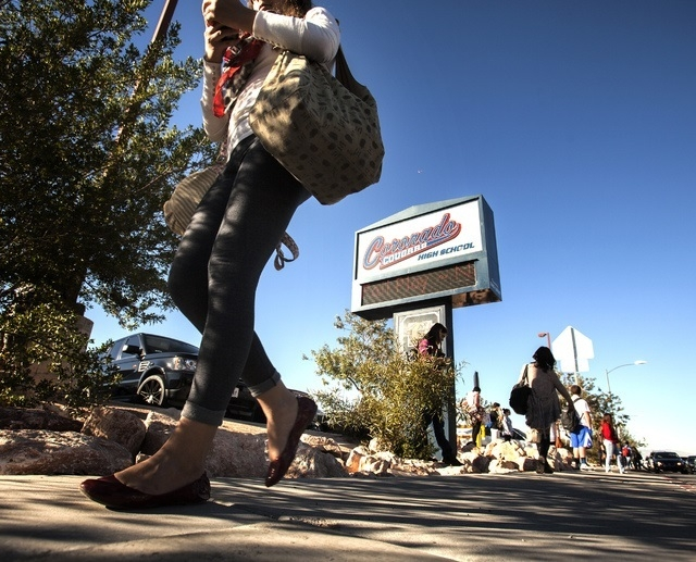 Students walk in front of Coronado High School at Coronado Center Drive, near Horizon Ridge Parkway in Henderson last month. (Jeff Scheid/Las Vegas Review-Journal)