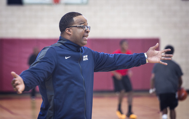 Agassi Prep basketball coach Trevor Diggs, instructing his team at practice Monday, was a standout guard at UNLV from 1999 to 2001. After stints in professional ball, Diggs returned to UNLV in 201 ...