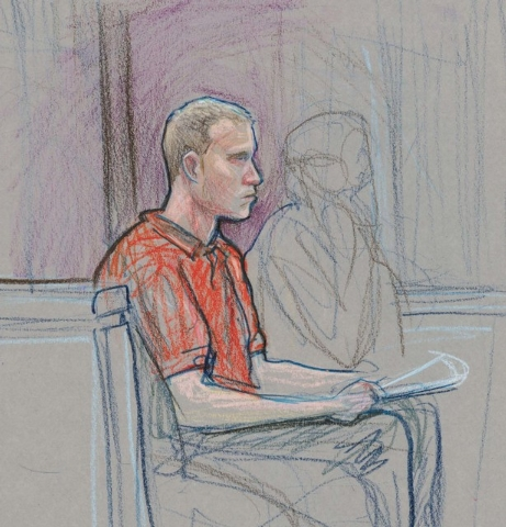 This courtroom illustration depicts Steven Matthew Fernandes during an appearance in October 2012. (File, David Stroud/Las Vegas Review-Journal)