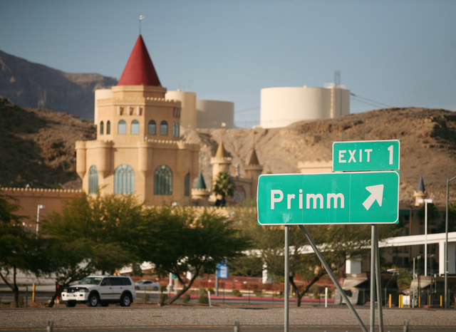 A freeway exit sign for Primm is shown along Interstate 15 just south of town. Primm is one mile from the California-Nevada state line and is located next to the Ivanpah Dry Lake. (Ronda Churchill ...