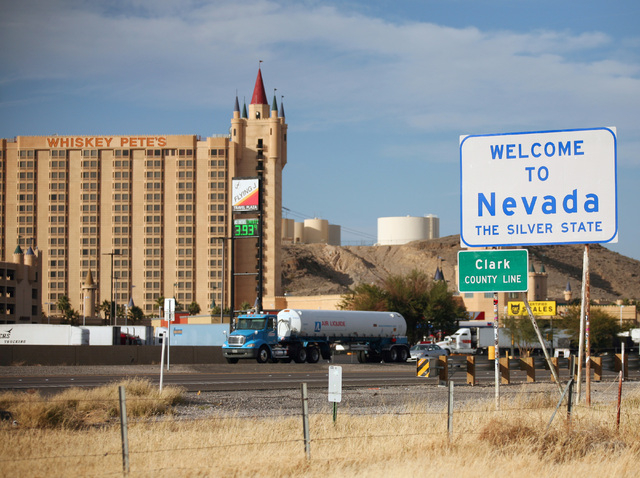 A welcome sign is shown along I-15 just south of Primm, which is one mile from the California-Nevada state line. (Ronda Churchill/Las Vegas Review-Journal)
