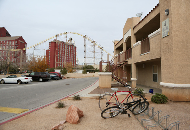 Bicycles are parked at Desert Oasis apartments near Buffalo Bill's hotel-casino in Primm. (Ronda Churchill/Las Vegas Review-Journal)