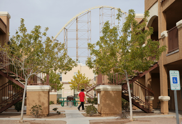 A section of the Buffalo Bill's roller coaster can be seen at Desert Oasis apartments in Primm. (Ronda Churchill/Las Vegas Review-Journal)