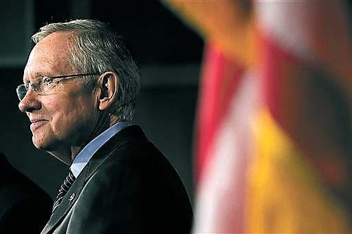 Sen. Harry Reid, D-Nev., was resting Friday morning after being hospitalized. (AP Photo/Jacquelyn Martin)