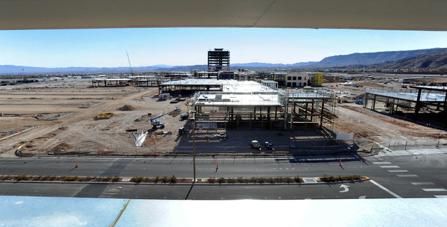 A general view of the Shops at Summerlin under construction is seen from the Red Rock hotel-casino parking garage on Sunday, Dec. 29, 2013. (David Becker/Las Vegas Review-Journal)