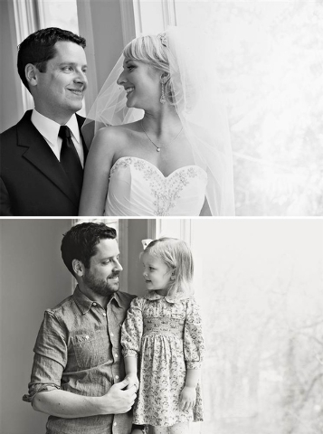 A wedding day shot of Ben and Ali Nunery, top, and a shot four years later of Ben Nunery and his daughter, Olivia. Ali Nunery died of lung cancer in 2011. (Melanie and Adam Pace/Loft3 Photography)