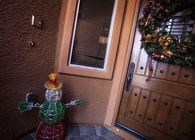 The front door of Lisa Willardson's home at  1044 Via Camelia Street in Henderson as seen on Friday, Dec. 27, 2013. Willardson, a former prosecutor whose relationship with suspended Family Court J ...