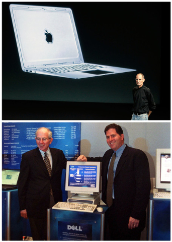 In this combination of Associated Press file photos, Apple CEO Steve Jobs, top, talks about the new Apple Macbook Air laptop at Apple headquarters in Cupertino, Calif, on Oct. 20, 2010, and bottom ...
