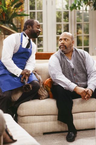 """This photo provided by NBC shows, Joseph Marcell, left, as Geoffrey, and James Avery, as Philip Banks, in the episode """"Papa's Got a Brand New Excuse"""" from the TV series, """"The Fresh Prince of Bel-A ..."""