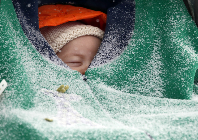 Two-month-old Jack Hsi takes a nap sheltered in his baby carrier while snow falls in Boston, Thursday, Jan. 2, 2014. Up to 14 inches of snow is forecast for the Boston area. (AP Photo/Elise Amendola)