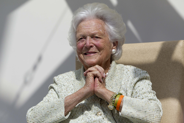 In a Thursday, Aug. 22, 2013 file photo, former first lady Barbara Bush listens to a patient's question during a visit to the Barbara Bush Children's Hospital at Maine Medical Center in Portland,  ...
