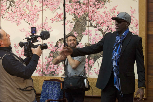 Dennis Rodman is filmed by a documentary film crew at a Pyongyang, North Korea hotel Tuesday, Jan. 7, 2014. Rodman came to the North Korean capital with a team of USA basketball stars for an exhib ...