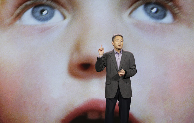 Sony Corporation president and CEO Kazuo Hirai speaks during a keynote address at the International Consumer Electronics Show, Tuesday, Jan. 7, 2014, in Las Vegas. (AP Photo/Julie Jacobson)