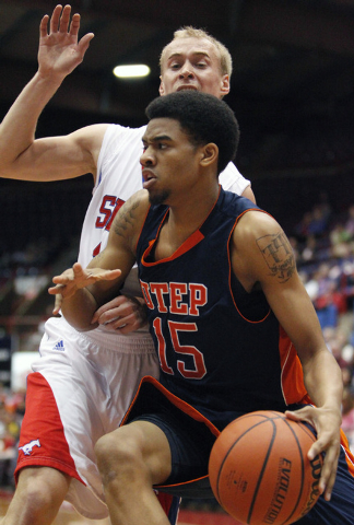 In this March 3, 2012 file photo, UTEP's Jalen Ragland (15) dribbles the ball against SMU's Aliaksei Patsevich during the first half of agame in Dallas. UTEP officials said Tuesday that three play ...