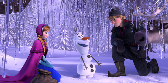 "This image released by Disney shows, from left, Anna, voiced by Kristen Bell, Olaf, voiced by Josh Gad, and Kristoff, voiced by Jonathan Groff in a scene from the animated feature ""Frozen.&qu ..."
