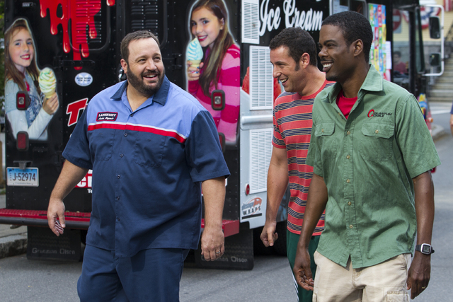 "This film publicity image released by Columbia Pictures shows, from left, Kevin James, Adam Sandler and Chris Rock in a scene from ""Grown Ups 2."" (AP Photo/Sony - Columbia Pictures, Trac ..."