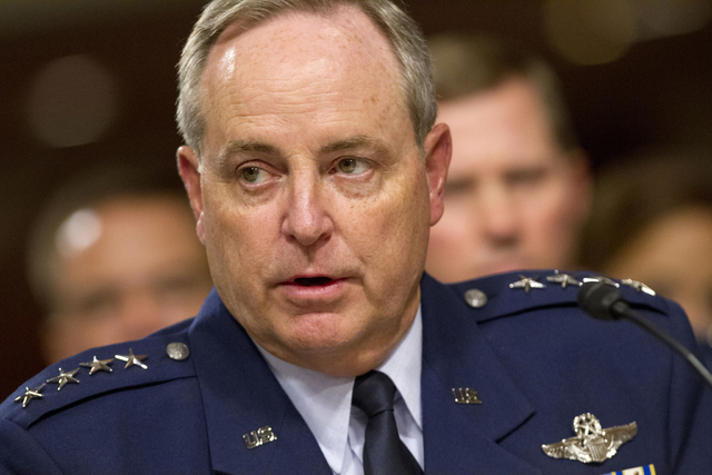 Air Force Chief of Staff Gen. Mark Welsh testifies on Capitol Hill in Washington. A drug investigation of officers at six Air Force bases, including two that operate nuclear missiles, has been wid ...