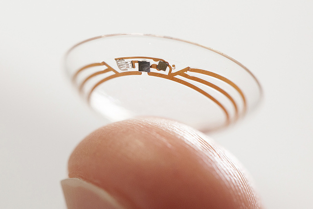 This undated photo released by Google shows a contact lens Google is testing to explore tear glucose. After years of scalding soldering hair-thin wires to miniaturize electronics, Brian Otis, Goog ...