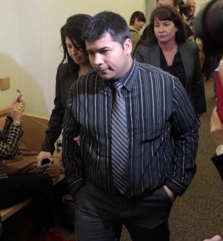 Erick Munoz arrives for a court hearing to possibly decide if his wife is removed from life support in Fort Worth, Texas on Friday, Jan. 24, 2014.  Attorneys for the Fort Worth-area family will as ...