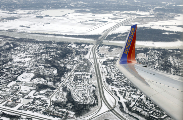 A Southwest plane approaches Lambert St. Louis International Airport on Jan. 8. Southwest Airlines Co. is expanding beyond the continental United States with flights to the Caribbean beginning Jul ...