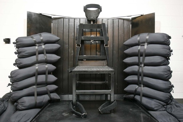 In this June 18, 2010 file photo is the firing squad execution chamber at the Utah State Prison in Draper, Utah. With lethal-injection drugs in short supply and new questions looming about their e ...