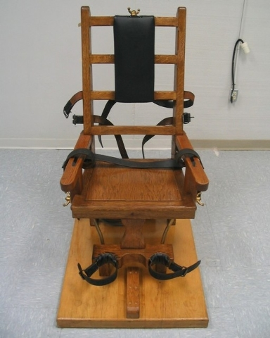 This undated file photo provided by the Virginia Department of Corrections shows an electric chair which Virginia provides as an alternative to lethal injection. With lethal-injection drugs in sho ...
