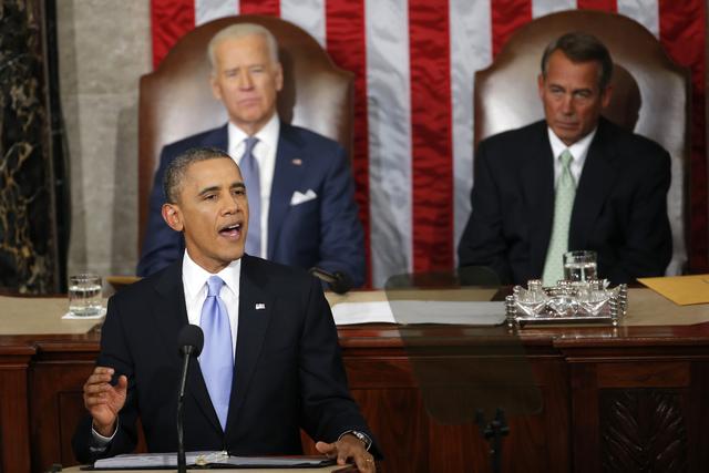 President Barack Obama gives his State of the Union address on Capitol Hill in Washington, Tuesday Jan. 28, 2014, as Vice President Joe Biden and House Speaker John Boehner of Ohio, listen. (AP Ph ...