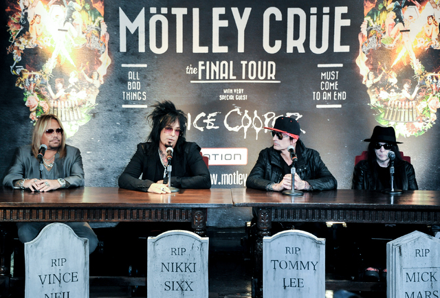 From left, Vince Neil, Nikki Sixx, Tommy Lee, and Mick Mars attend the Motley Crue Press Conference, Tuesday, Jan. 28, 2014, in Los Angeles. The heavy-metal band says it will retire after performi ...