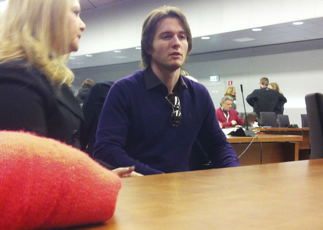 Raffaele Sollecito talks with his stepmother, Mara Papagni, prior to the start of the final hearing before the third court verdict for the murder of British student Meredith Kercher, in Florence,  ...