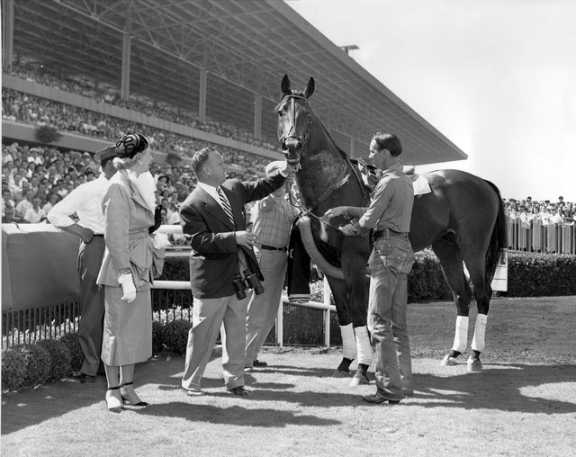 Citation is shown in the winner's circle after taking a bow at Hollywood Park in Inglewood, Ca., on July 21, 1951.  Citation, the first race horse to win $1 million, was retired to stud on July 20 ...