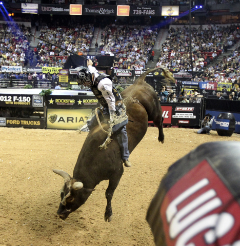 Cord McCoy of Tupelo, Okla., rides Bushwacker during the Professional Bull Riders World Finals on Oct. 28, 2011. (K.M. Cannon/Las Vegas Review-Journal)