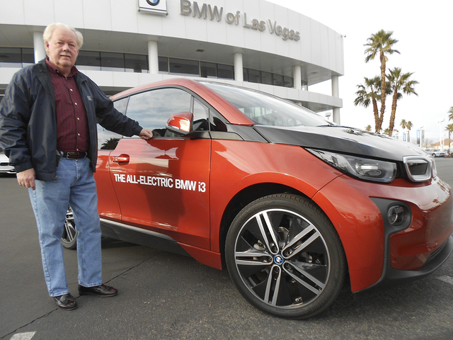 Courtesy photo Former state Sen. Mike Schneider test drove the 2014 BMW i3 all-electric vehicle at BMW of Las Vegas.