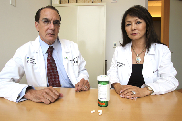 Doctors Jeffrey Cummings, left, and Kate Zhong are shown at the Lou Ruvo Center for Brain Health in Las Vegas. (K.M. Cannon/Las Vegas Review-Journal File Photo)