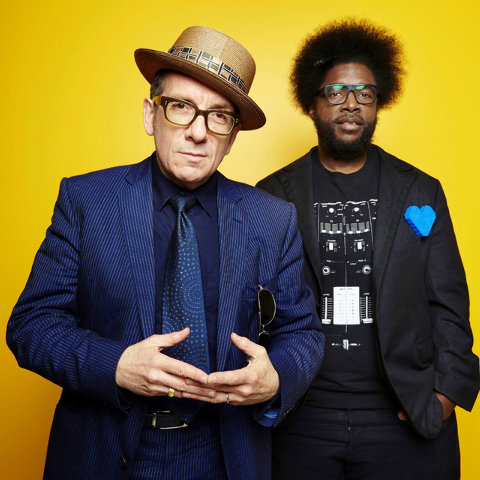 "English singer-songwriter Elvis Costello, left, poses for a portrait with drummer Ahmir ""Questlove"" Thompson of The Roots. (Photo by Dan Hallman/Invision/AP)"