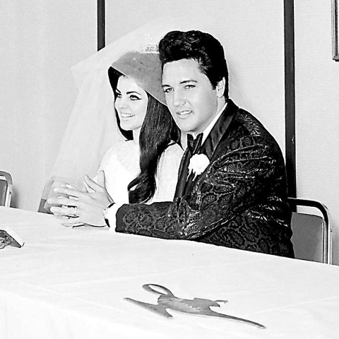 Priscilla Beaulieu Presley, left, and Elvis Presley appear at a press conference shortly after their wedding at the Aladdin Hotel-Casino in Las Vegas on May 1, 1967.  (Don Zirkle/Las Vegas Review- ...