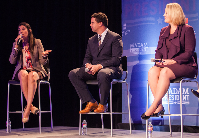 """Assemblywoman Lucy Flores, left, speaks during a town hall panel, titled """"Madam President,"""" held by Emily's List, with political strategist Bill Burton and Emily's List President Stephan ..."""