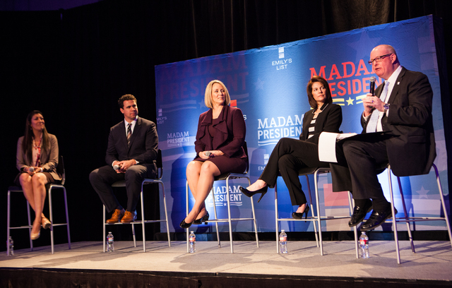 """Review-Journal political columnist Steve Sebelius, right, moderates a town hall panel, titled """"Madam President,"""" held by Emily's List at the Student Union at the University of Nevada, La ..."""