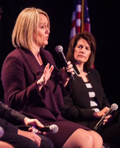 """Emily's List President Stephanie Schriock speaks during a town hall panel, titled """"Madam President,"""" held by the organization, with Nevada Attorney General Catherine Cortez Masto, at the ..."""