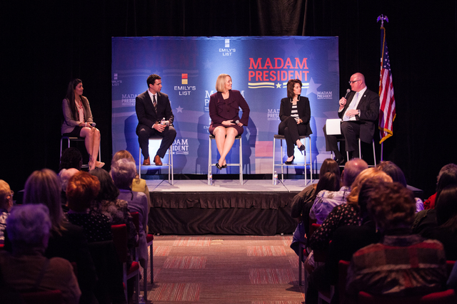 """Review-Journal political columnist Steve Sebelius, right, moderates a town hall panel, titled """"Madam President,"""" held by Emily's List with Nevada Assemblywoman Lucy Flores, from left, an ..."""