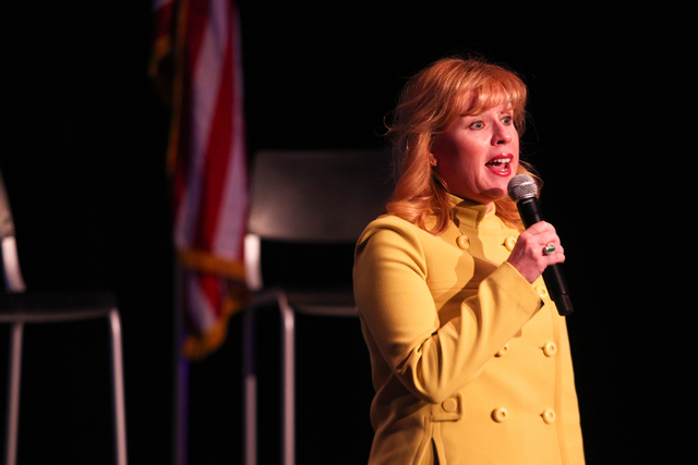 """Congressional candidate Erin Bilbray speaks before the start of a town hall panel, titled """"Madam President,"""" held by Emily's List at the Student Union at the University of Nevada, Las Ve ..."""