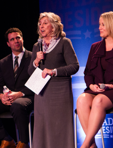 "Rep. Dina Titus, D-Nev., speaks at the end of a town hall panel, titled ""Madam President,"" held by Emily's List, with political strategist Bill Burton and Emily's List President Stephani ..."
