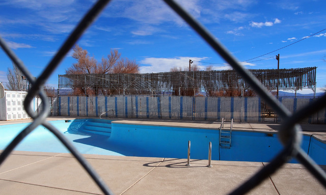 Locals in Silver Peak, Nev., say that Trayce Kinekl used to bath in the community pool in Silver Peak, seen Tuesday, Dec. 31, 2013. Colman Ward has been arraigned for the murder of her husband Cha ...
