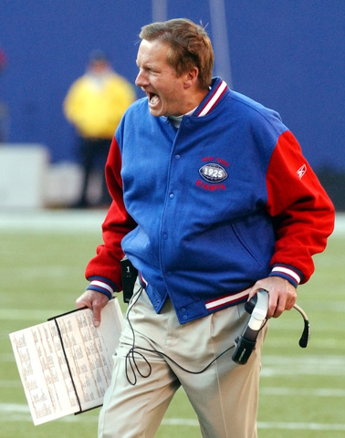 New York Giants coach Jim Fassel reacts after the officials called a personal foul penalty during the second quarter Sunday, Nov. 30, 2003, at Giants Stadium in East Rutherford, N.J. The Buffalo B ...