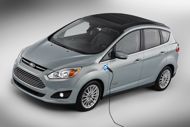 This undated image provided by Ford shows the C-MAX Solar Energi Concept car. At the January 2014 International CES gadget show, Ford plans to unveil the solar-powered vehicle that offers the same ...